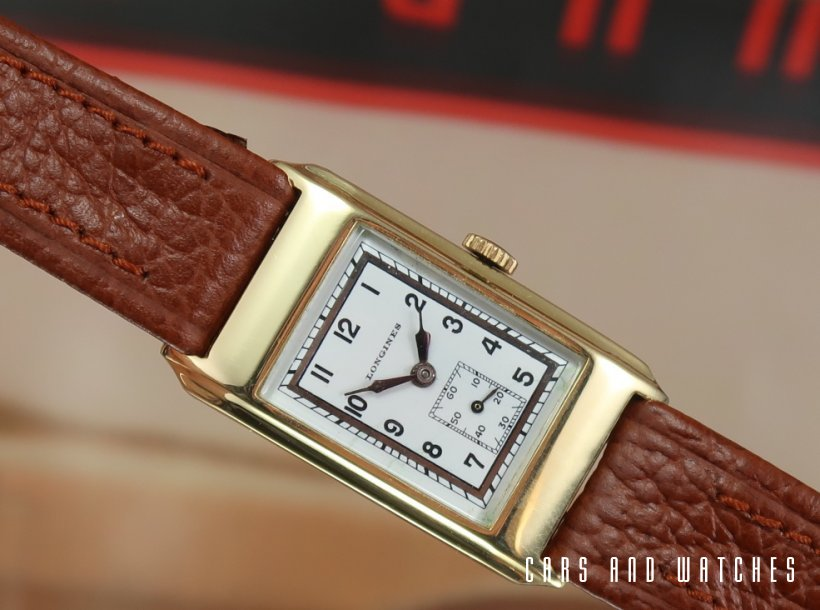 Longines Tank watch with rare enamel dial